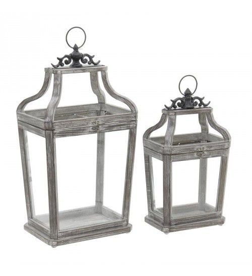 S_2 WOODEN_METAL LANTERN IN ANTIQUE BROWN 30X22X55