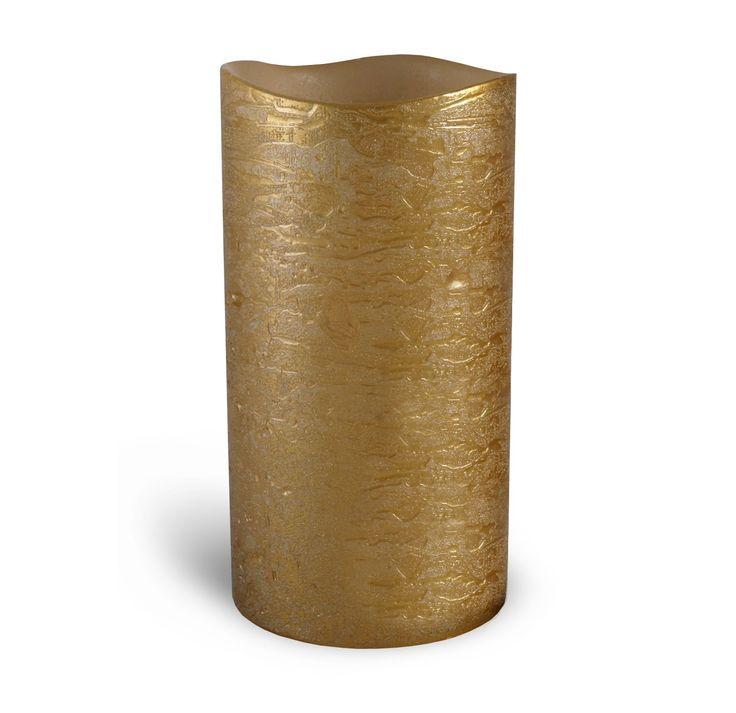 "Enjoy 3.1"" x 6""  Gold Leaf Ivory Wax Pillar - Flameless"