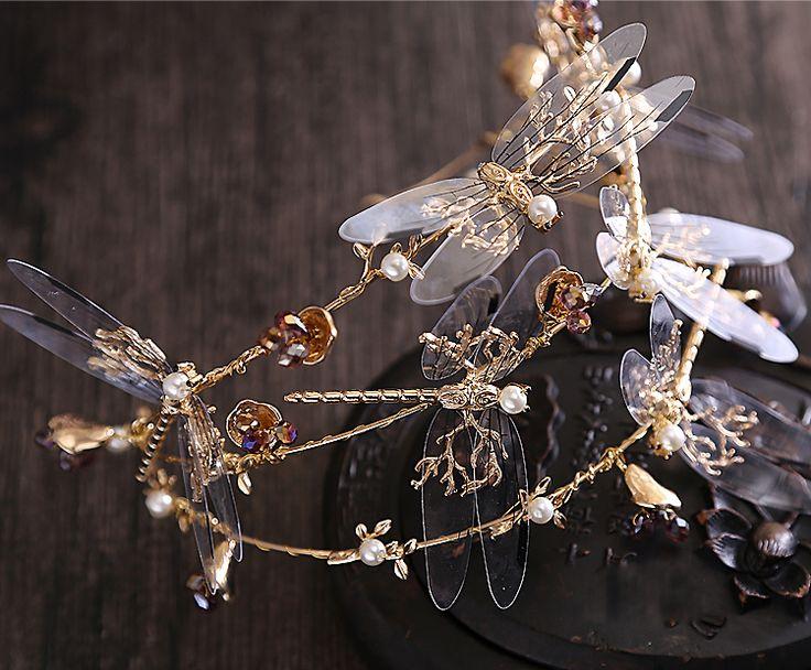 2016 Барокко корона Три слоя Dragonfly аксессуары для волос новый свадебный венец красоты короны и диадемы купить на AliExpress