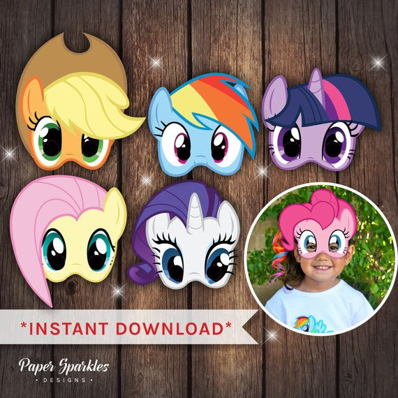 6 Printable My Little Pony masks.  A perfect addition to your childs my little pony party. All 6 mask design are included on INSTANT