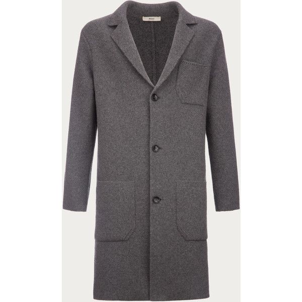 Bally Knitted Wool & Cashmere Coat Men's wool & cashmere coat in grey (£1,440) ❤ liked on Polyvore featuring men's fashion, men's clothing, men's outerwear, men's coats, mens cashmere coat, mens gray wool coat, mens coats, mens grey coat and mens wool coats