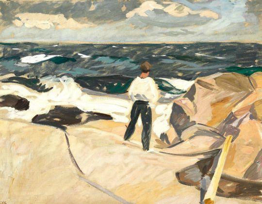 Edvard Weie (Danish, 1879-1943), En maler ser på motiv. Fra Christiansø [A painter looks at his subject, Christiansø], 1917. Oil on canvas, 72 × 93 cm.