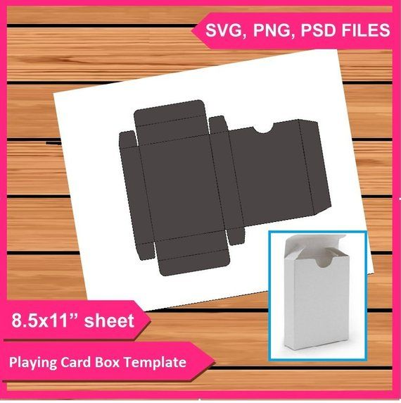 Playing Cards Box Template Instant Download Psd Png And Svg Files 8 5x11 Digital Printable Party Treat Gift Car Box Template Playing Card Box Gift Card Boxes