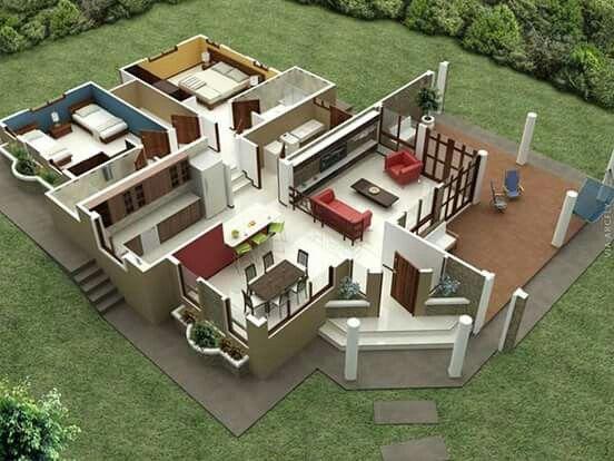 Hauspläne 3d  542 besten Planos en 3D Bilder auf Pinterest | Haus pläne ...