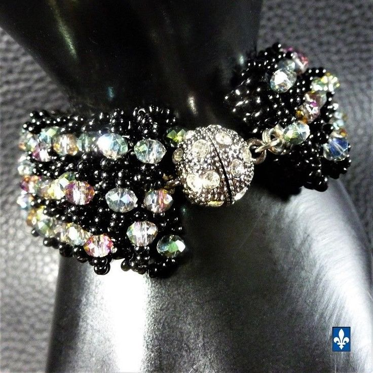 ♥ Mesmerizing Weaved Black Glass & Iridescent Crystal Plated Silver Bracelet #Bracelet