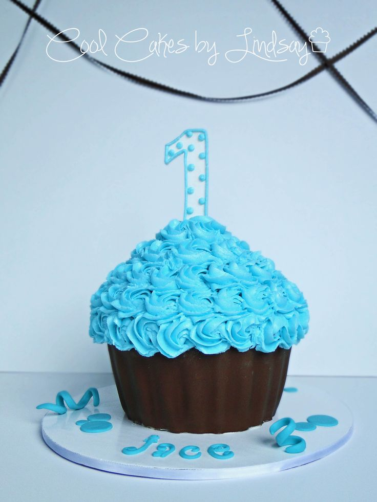 Giant Cupcake - Blue and Brown