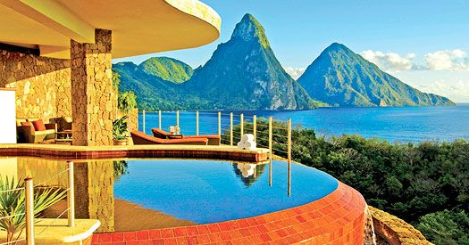 Jade Mountain, St Lucia.  A stunning luxury resort in a tropical paradise, with private infinity pools.