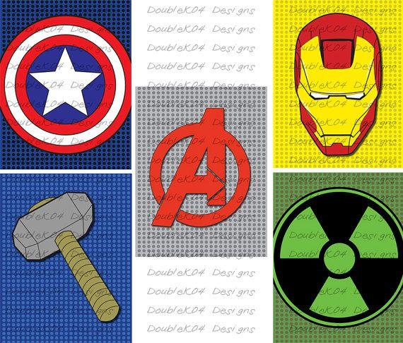 PRINTABLE Superhero Logos Marvels Avengers (Ironman, Hulk, Captain