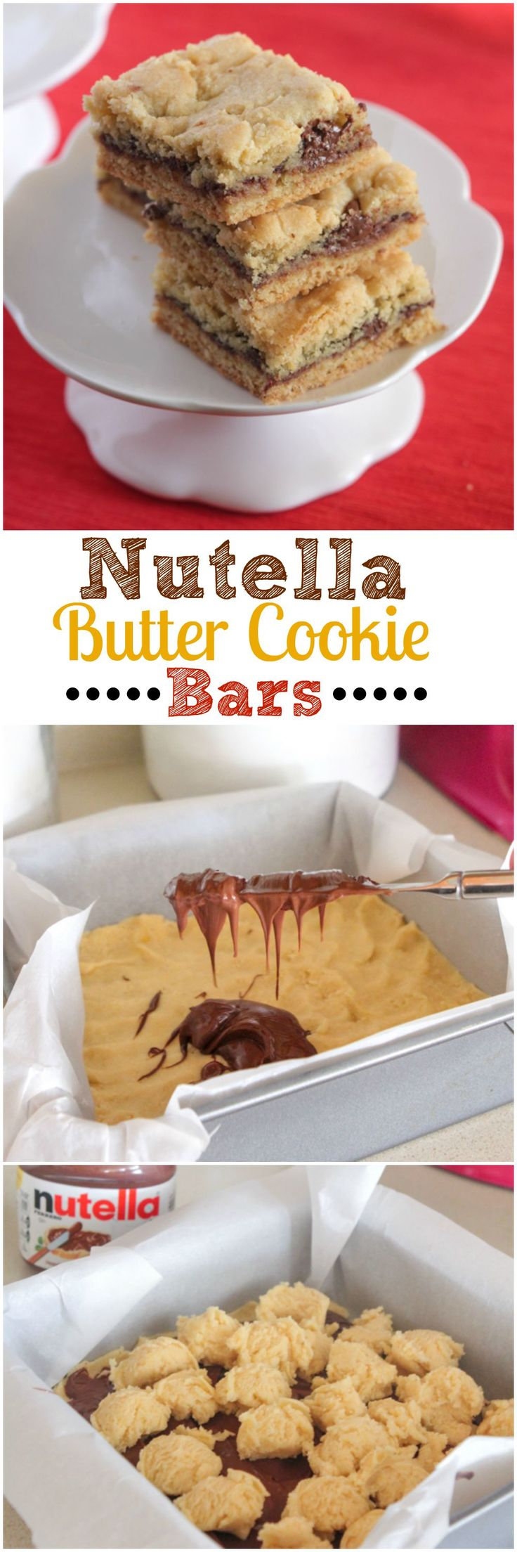 Nutella surrounded by a butter cookie crust - it doesn't get much better than that. Separate your dough in half. Spread one half in a baking tin. Spread Nutella on top and cover with the other half of the dough. Bake for a Nutella delight inside and out.