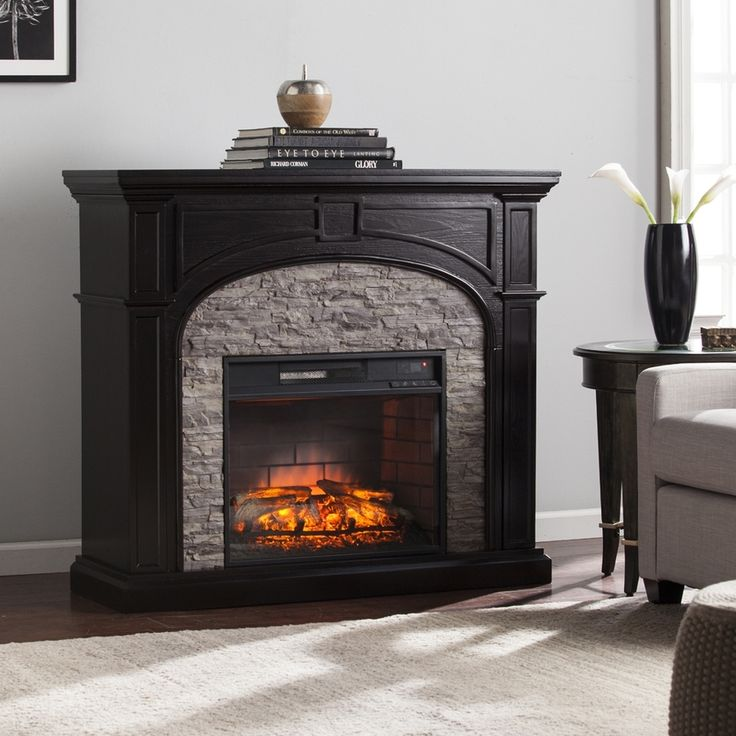Puratron Fireplace Insert Part - 32: Electric Fireplace With Thermostat Part - 50: Boston Loft Furnishings  45.75-in W Ebony