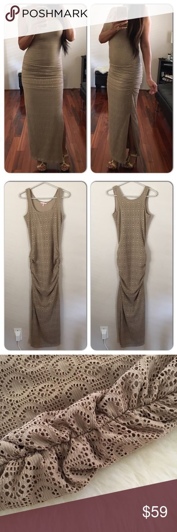 VICTORIA'S SECRET Crochet Maxi Dress Nude colored crochet maxi dress with side ruching by the hips. Fully lined. Slits on both sides. Worn and washed once, like new. Victoria's Secret Dresses Maxi