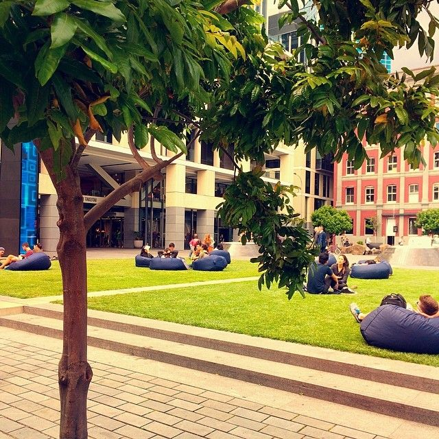 Auckland knows how to relax! Takutai Square, Auckland, New Zealand.