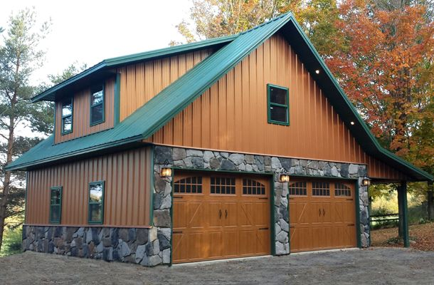 Real Metal Hobby Garage w/ Stone Wainscot (6 Pictures) | Metal Building Homes
