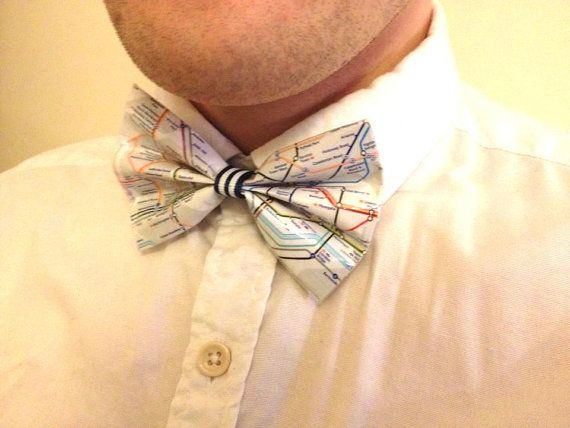 London Tube Map Bow Tie Unusual Gift for Men by LittleTownBelle