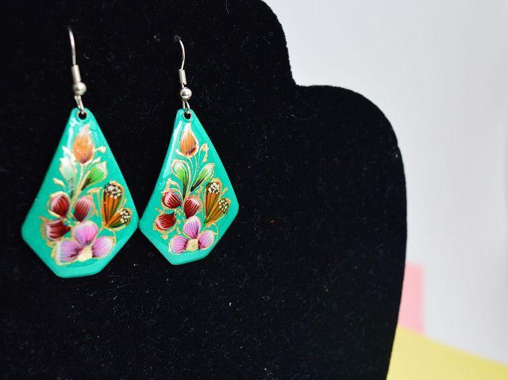 Earrings Mexican flowers Handmade-Artesano Currucutú