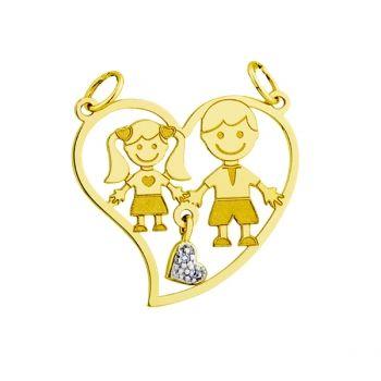 Pingente menino e menina em ouro.