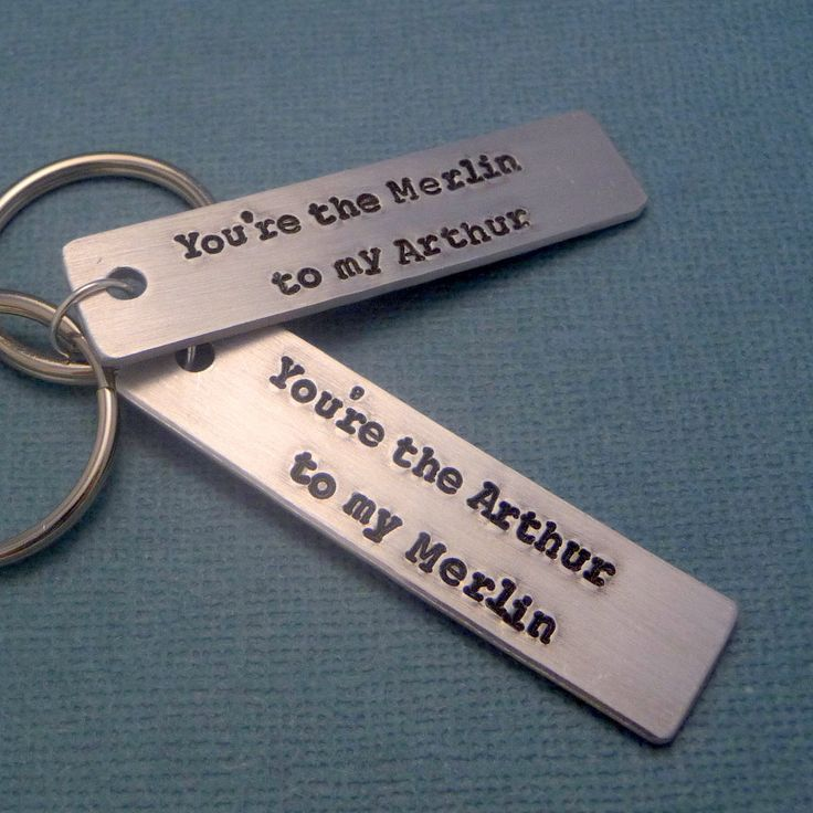 Merlin Inspired - Arthur to my Merlin & Merlin to my Arthur A Pair of Hand Stamped Aluminum Keychains. $17.95, via Etsy.