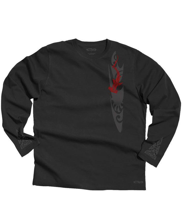 Woodcut Shark - Jet Black Long-Sleeve Pima Shirt
