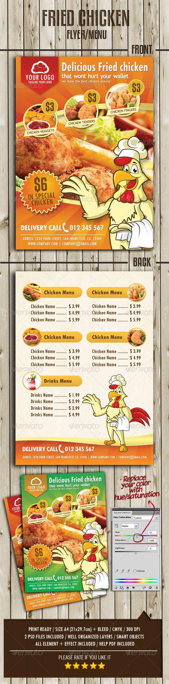 Fried Chicken Flyer Menu - Restaurant Flyers