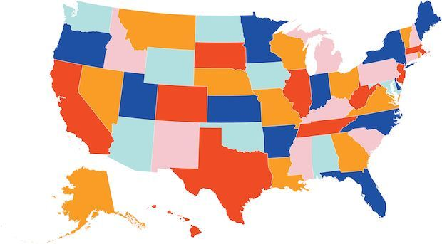 a map of the United States of America with the different states and DC distinguished by different colors