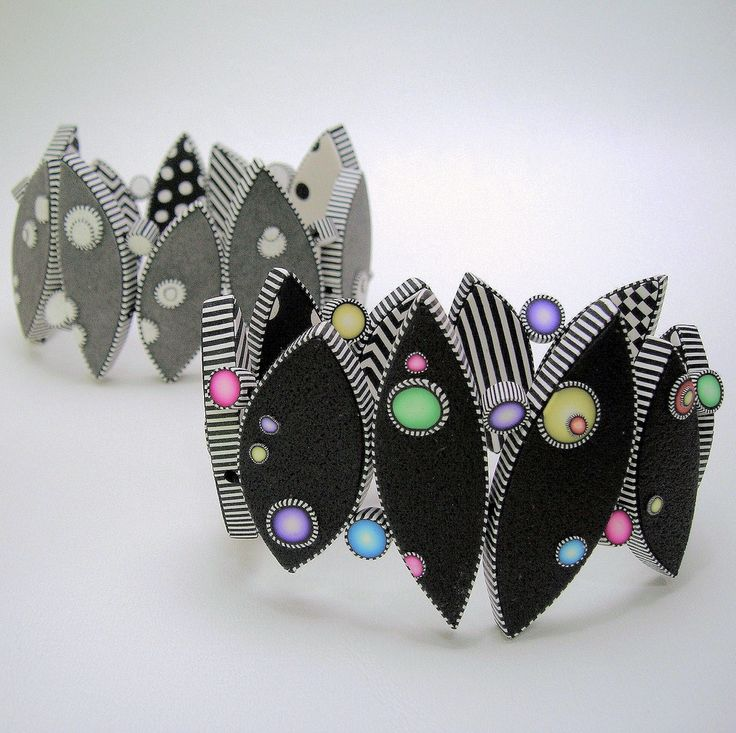 Dot bracelets white, black, & color by JUDY BELCHER. Made from polymer clay.