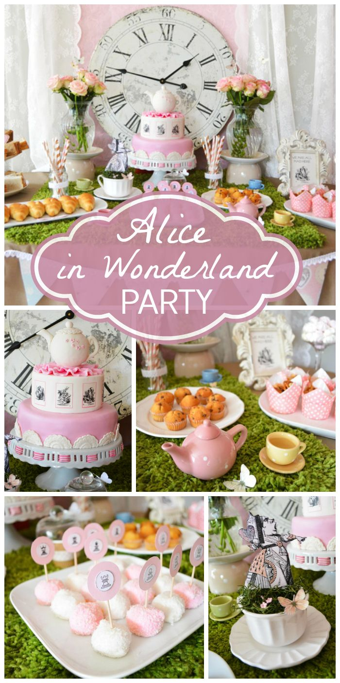 Stunning Alice in Wonderland girl birthday party with a dessert table, teapots, and a lovely clock! See more party ideas at CatchMyParty.com!