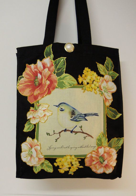 0541d3ad56 Black Canvas Tote Bag Custom Designed with Floral  Fabric  Applique by  paulagsell