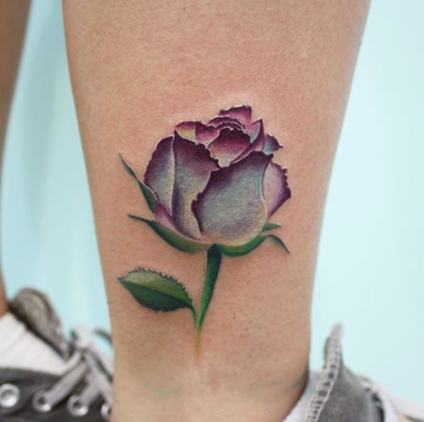 Purple Watercolor Rose Tattoo by Bryan Gee