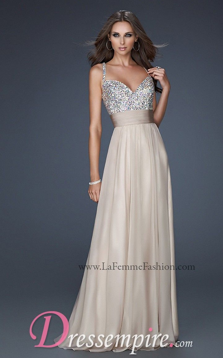 Gold Sparkly Dress - La Femme 16802 Dress|DressEmpire.com