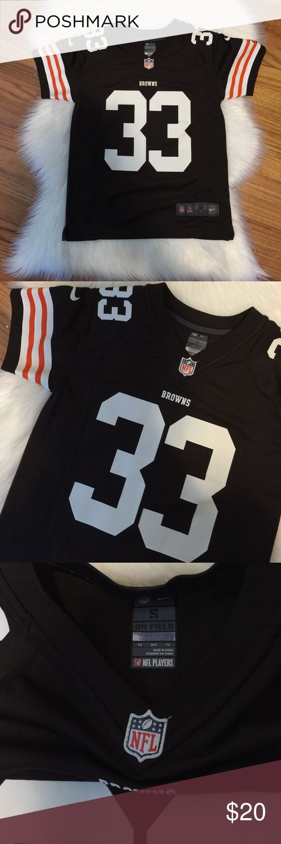 ITEM NFL BROWNS RICHARDSON JERSEY SIZE Kid small Perfect condition only tried on BROWNS FOOTBALL JERSEY. Number 33 Richardson. Perfect condition. ❌ I do not trade ✅I follow poshmark rules. ✅ fast shipper. NFL  Shirts & Tops