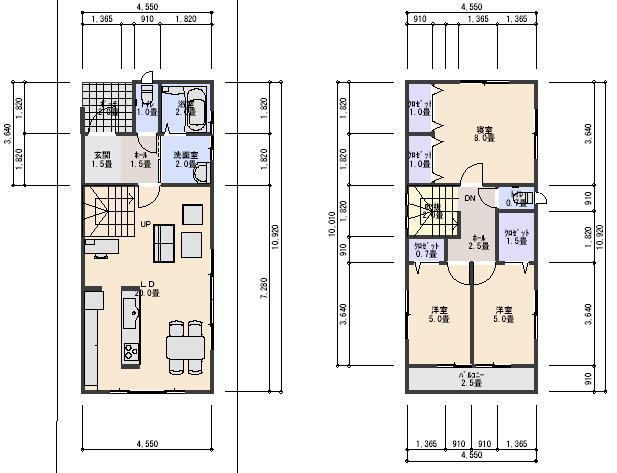 28坪北入り2.5間間口3LDK ローコスト住宅 間取り、プラン