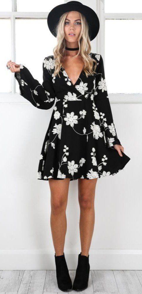 black floral dress for boho souls