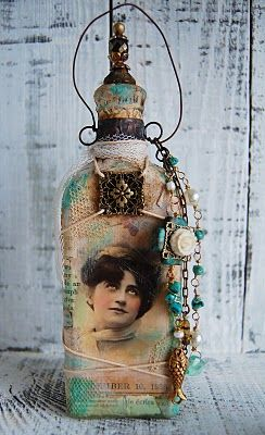 Mixed media bottle art ideas