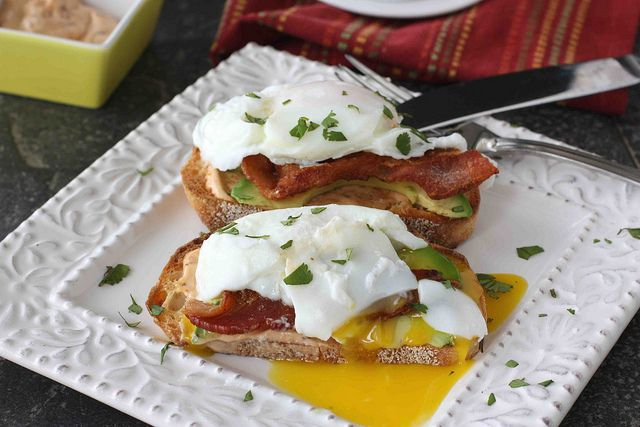 Poached Egg on Toast with Chipotle Mayonnaise, Bacon & Avocado LS by CookinCanuck, via Flickr