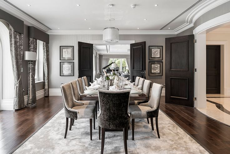 Elegant classic contemporary dining room in tones of grey designed by www.aji.co.uk