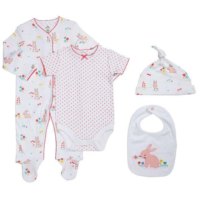 BuyJohn Lewis Baby Rabbit 4 Piece Set, White/Pink, Newborn Online at johnlewis.com