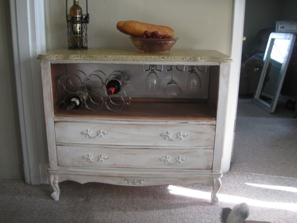 Another version of the  dresser/bookshelf re-purposed into a wine bar - I really like this one better than the original pin - it was on St. Louis Craigslist - NICE!
