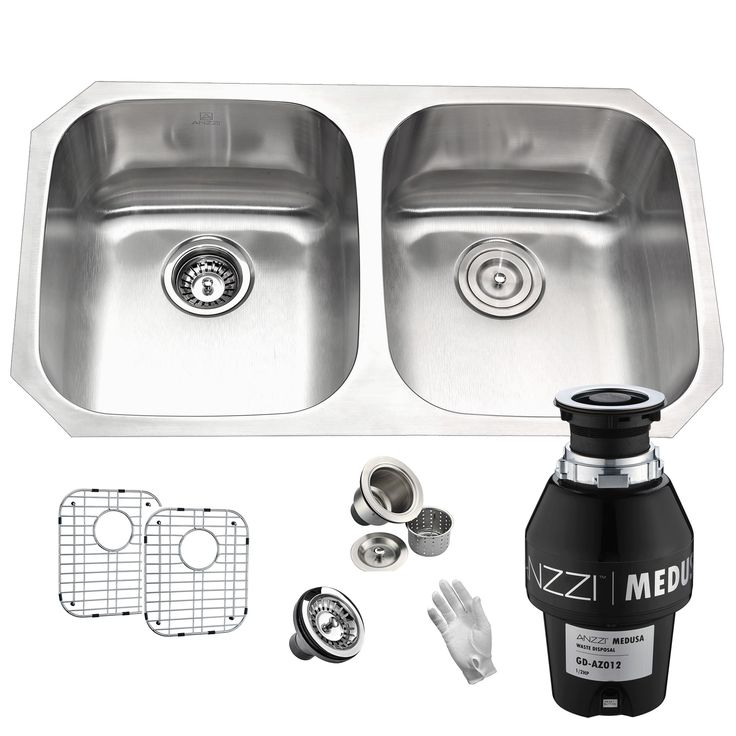 Anzzi Moore Undermount Stainless Steel 32 in. 0-Hole 50/50 Double Bowl Kitchen Sink with Medusa Series 1/2HP Garbage Disposal, Silver
