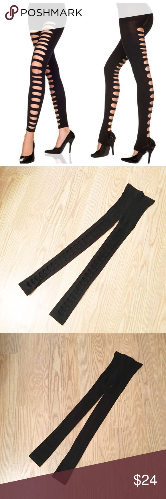 """NWOT slashed ripped tights NWOT laser cut slashed ripped black tights 