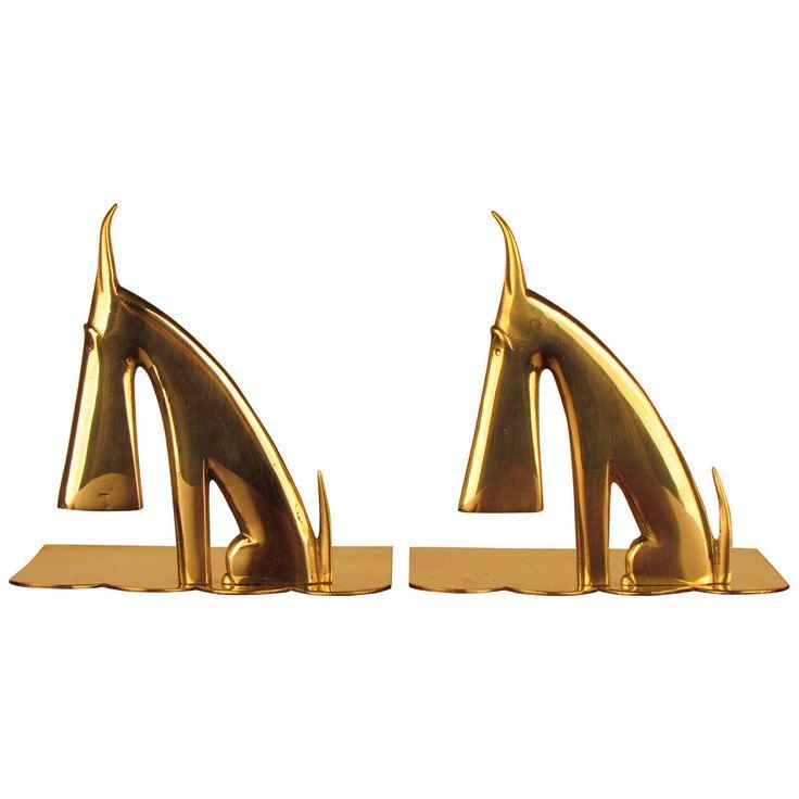 Brass Stylized Scottie Bookends in the Style of Karl Hagenauer