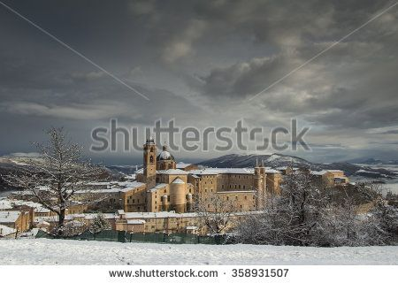 View of medieval city of Urbino with snow in winter, Marche, Italy. #Urbino #Marche #Winter #Snow #City #Town #Italy #Urban #Historic #Medieval