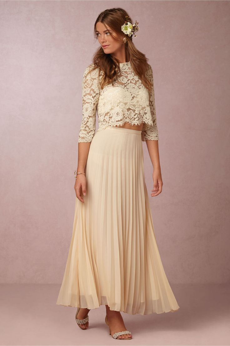 soft, flowy bridal separates for the bohemian bride | Serenity Lace Top & Skirt from @BHLDN