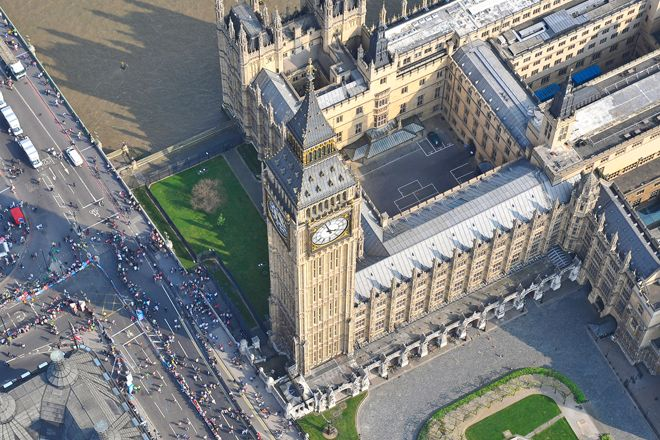 An aerial photograph of Big Ben in Westminster, London