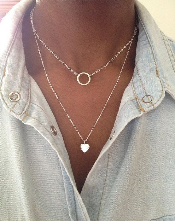 Sterling Silver 2 Layer Necklace Eternity Circle by PABJewellery Tap link now to…