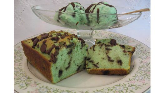Mmm . . . super easy-to-make Mint Chocolate Chip Ice Cream Bread! Makes one small loaf. Double recipe for a regular bread pan size loaf.