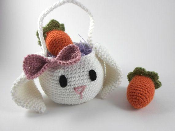 Floppy Ear Bunny Basket, Easter Basket with Carrot Egg Cozies, Crochet Easter Basket Set, Easter Decoration