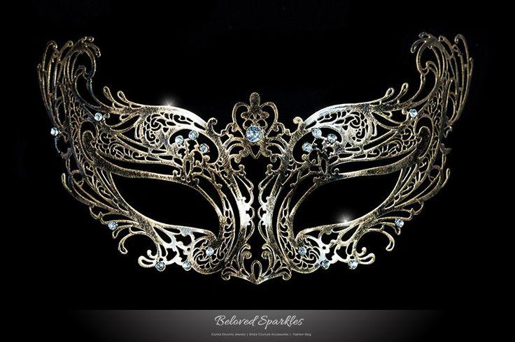 LIANA BRONZE METAL LACE MASQUERADE MASK | Metal