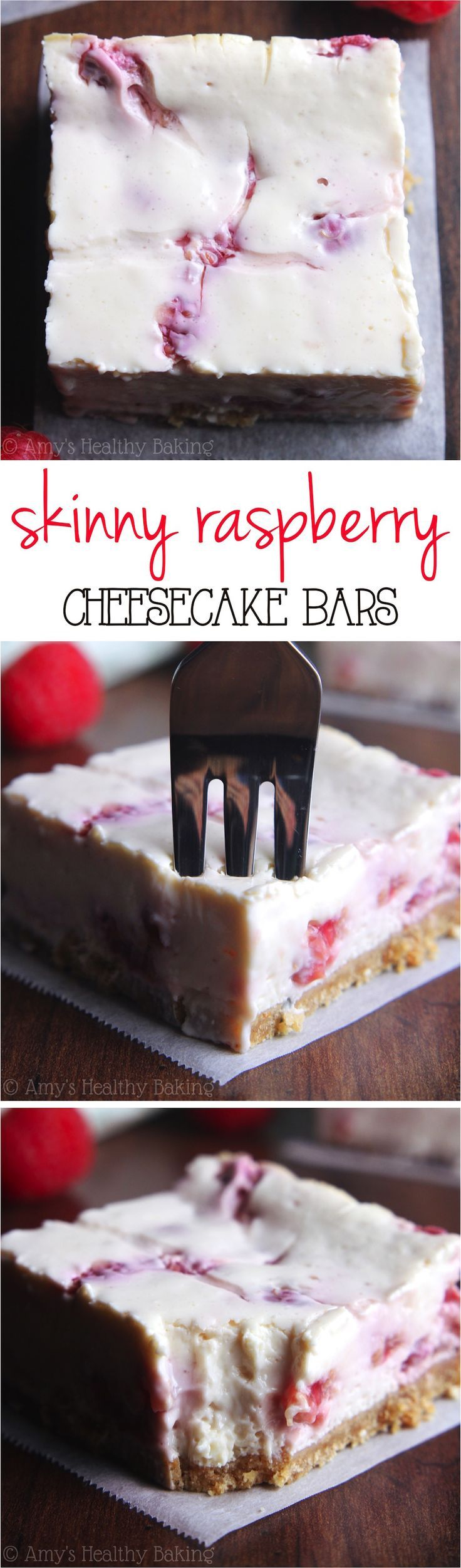 Skinny Raspberry Cheesecake Bars -- SO easy to make & packed with 5g of protein! Only 97 calories!