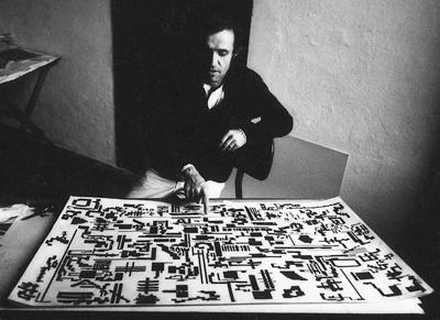 Alighiero Boetti in his studio. 1970s