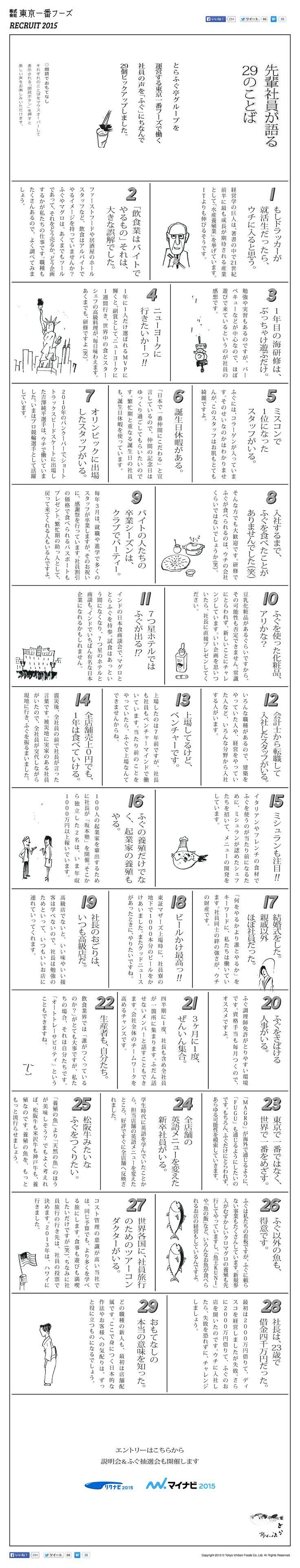 先輩社員が語る29のことば | 東京一番フーズ新卒採用2015コンテンツ
